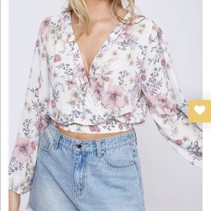 Tops - White Floral Wrap Top